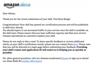 Alexa Certification EMail